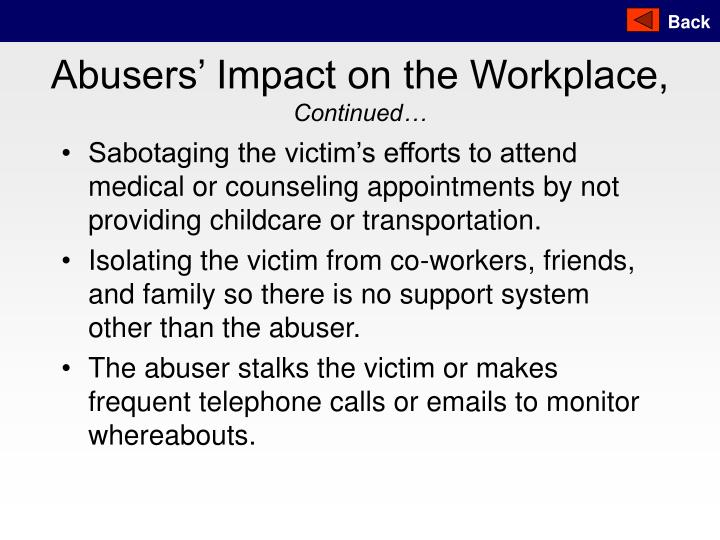 Abusers' Impact on the Workplace,