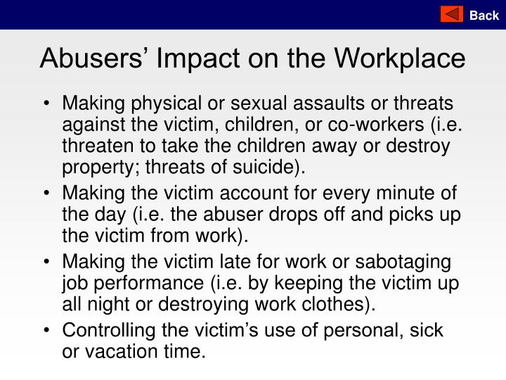 Abusers' Impact on the Workplace