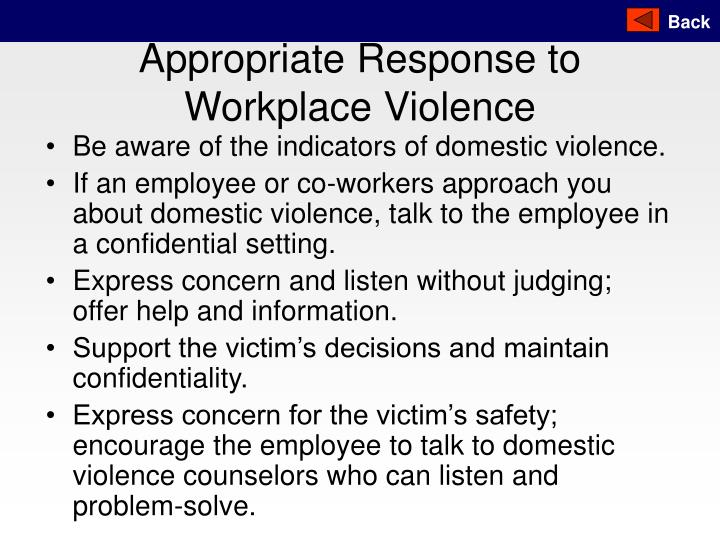 Appropriate Response to Workplace Violence