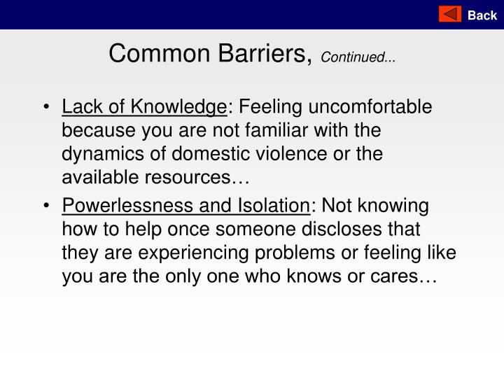 Common Barriers,