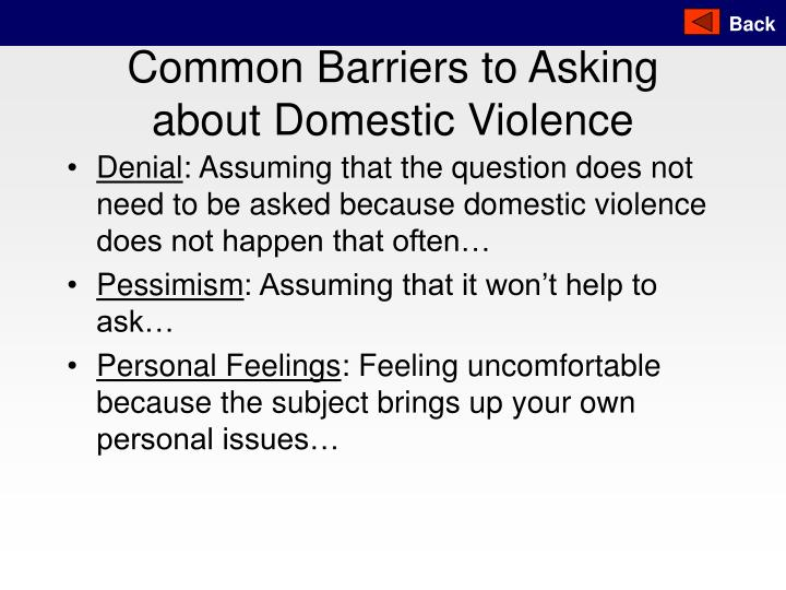 Common Barriers to Asking about Domestic Violence