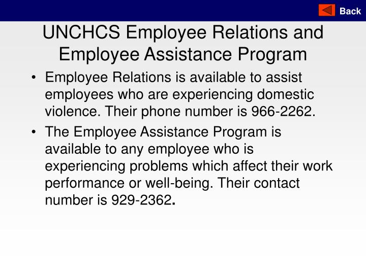 UNCHCS Employee Relations and Employee Assistance Program
