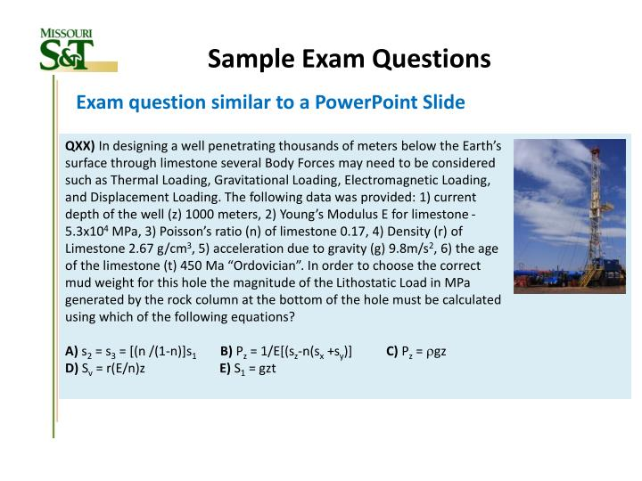 Sample Exam Questions