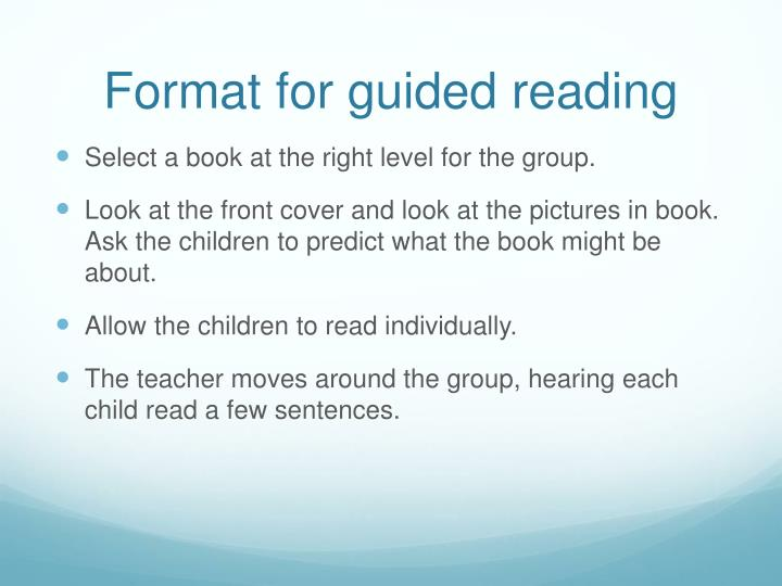 Format for guided reading