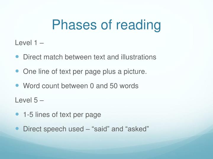 Phases of reading