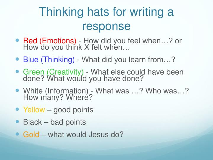 Thinking hats for writing a response