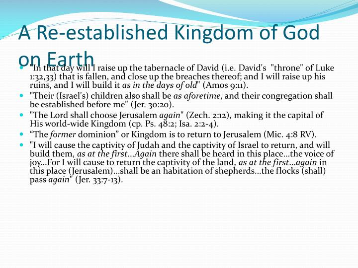 A Re-established Kingdom of God on Earth