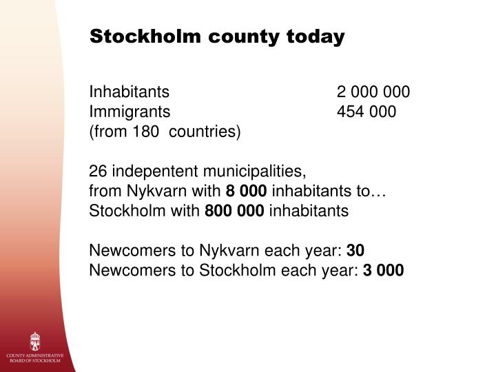 Stockholm county today
