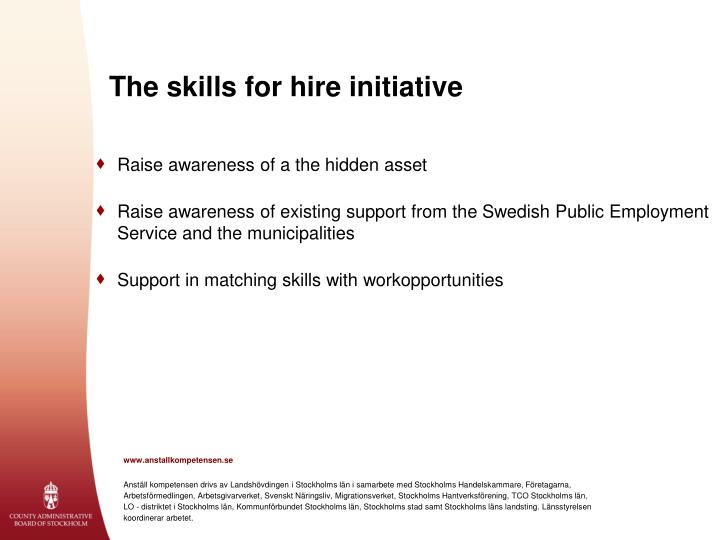The skills for hire initiative