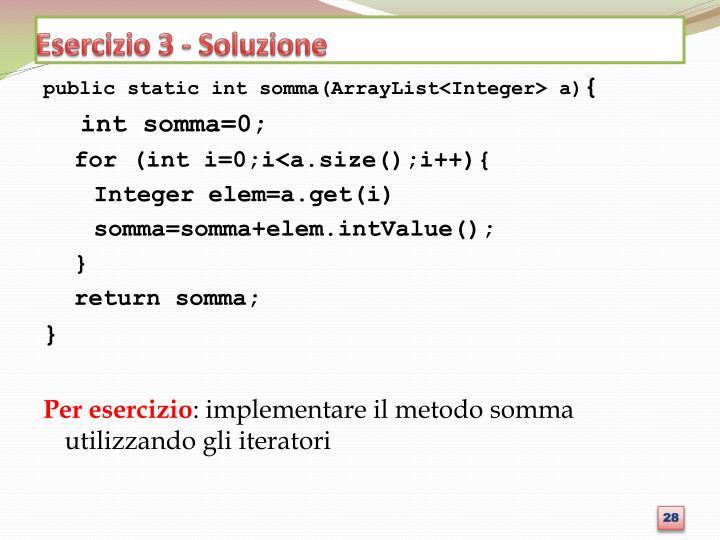 Esercizio 3 - Soluzione