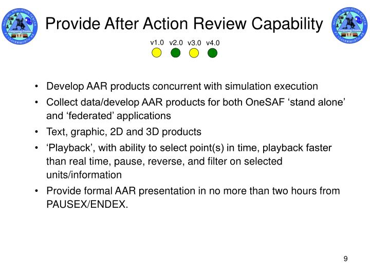 Provide After Action Review Capability