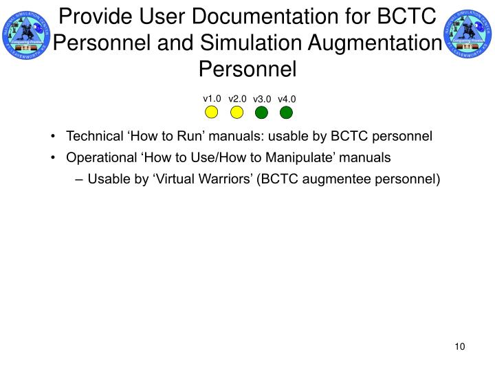 Provide User Documentation for BCTC Personnel and Simulation Augmentation Personnel