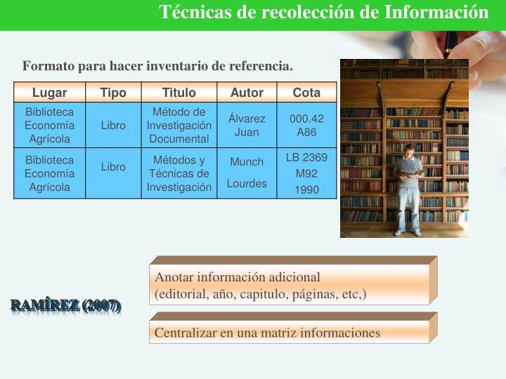 Técnicas de recolección de Información