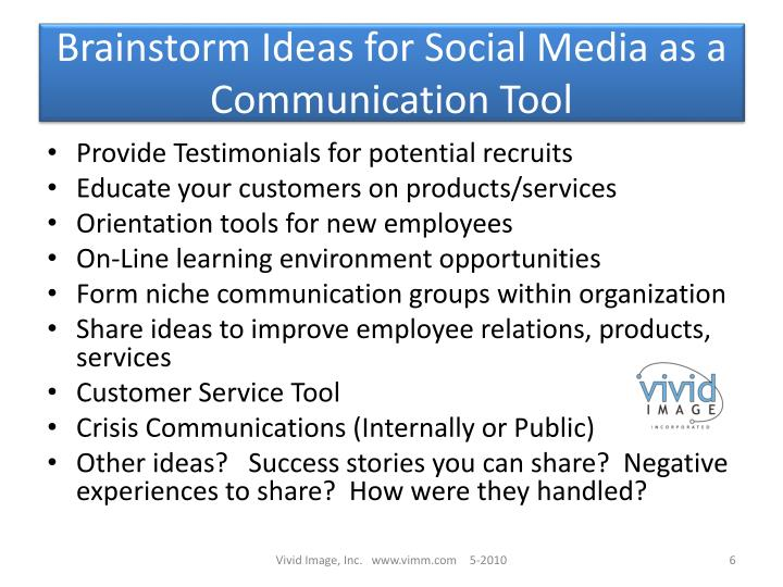 Brainstorm Ideas for Social Media as a Communication Tool