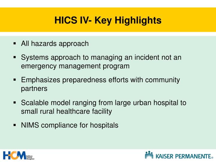 HICS IV- Key Highlights