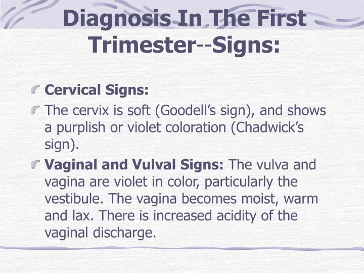 Diagnosis In The First Trimester