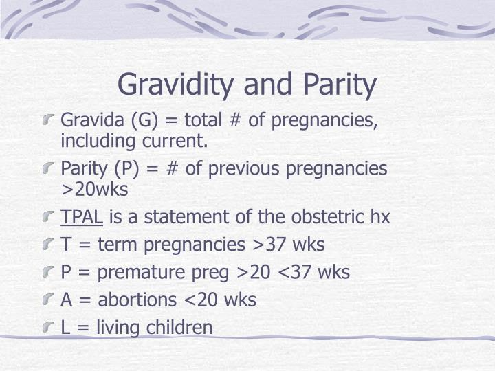 Gravidity and Parity