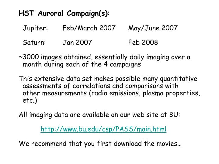 HST Auroral Campaign(s)