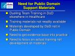 need for public domain support materials