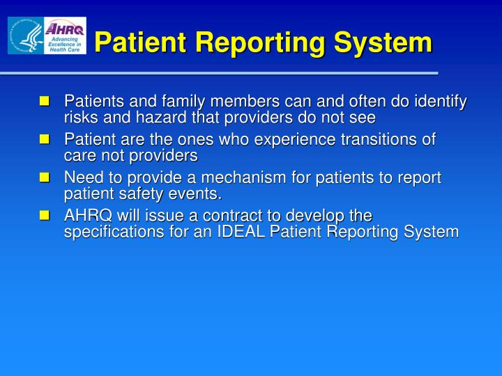 Patient Reporting System