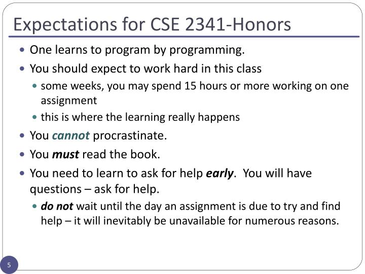 Expectations for CSE 2341-Honors