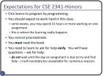 expectations for cse 2341 honors
