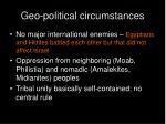 geo political circumstances