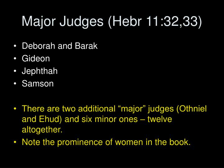 Major Judges (Hebr 11:32,33)