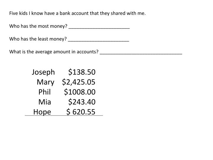 Five kids I know have a bank account that they shared with me.