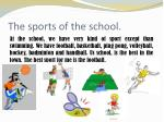 the sports of the school