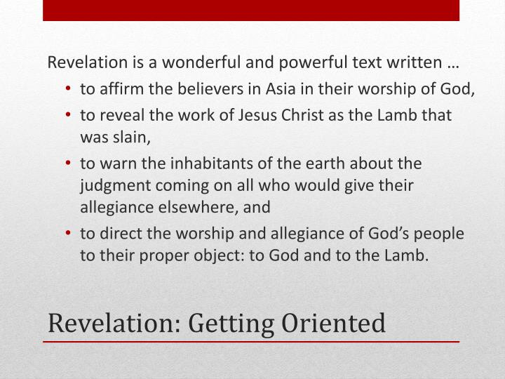Revelation is a wonderful and powerful text written …
