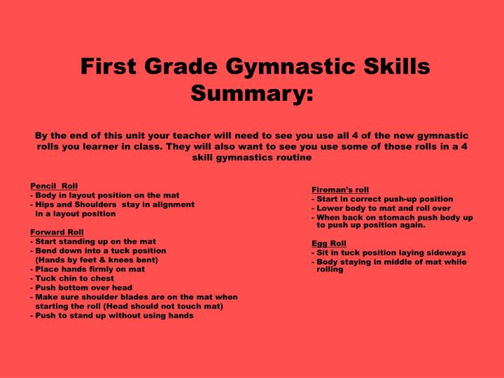 First Grade Gymnastic Skills Summary: