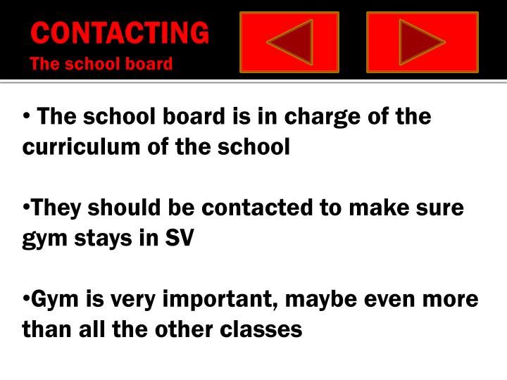 Contacting the school board