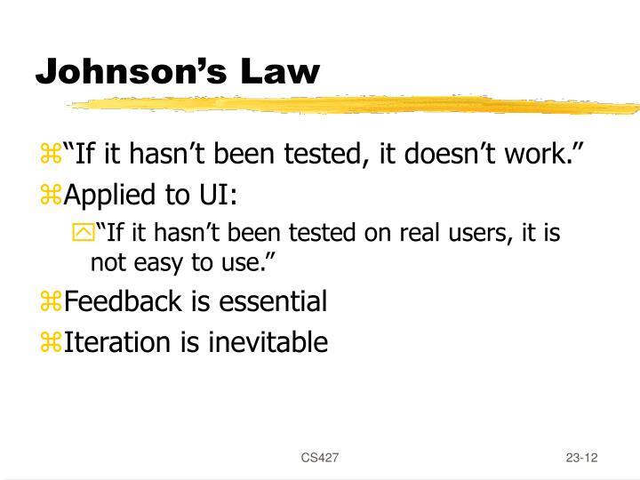 Johnson's Law