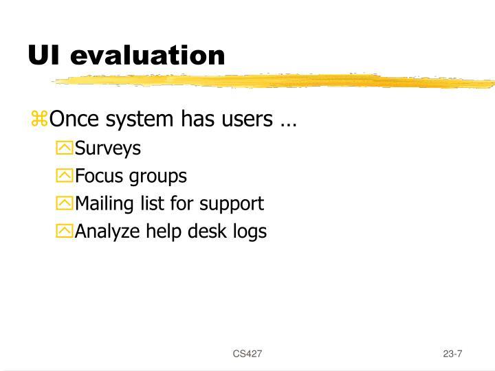 UI evaluation