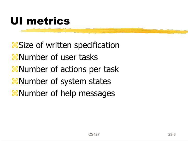 UI metrics