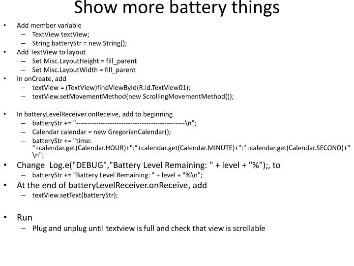 Show more battery things