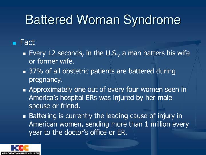 characteristics of the battered womens syndrome Battered woman syndrome: what are the battered woman syndrome: what are the characteristics woman killer that is suffering from battered womens syndrome.