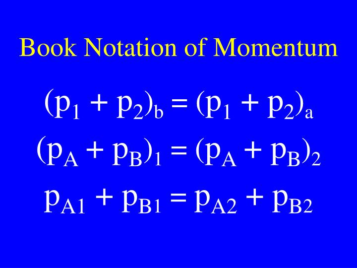 Book Notation of Momentum