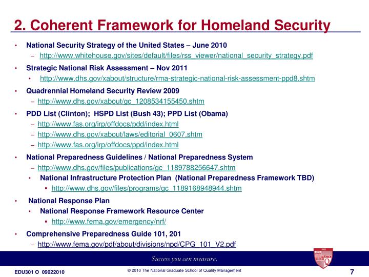 2. Coherent Framework for Homeland Security