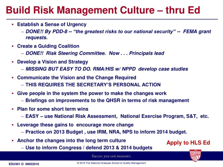 Build Risk Management Culture – thru Ed