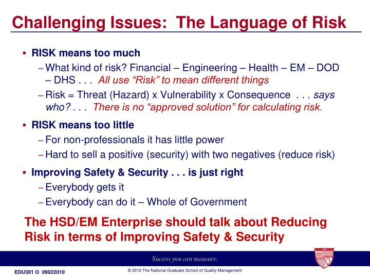 Challenging Issues:  The Language of Risk