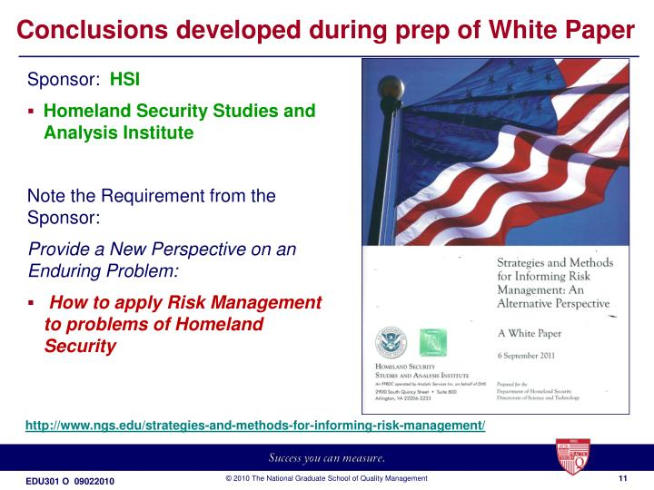 Conclusions developed during prep of White Paper