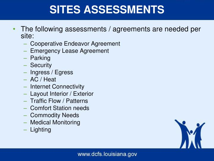 SITES ASSESSMENTS