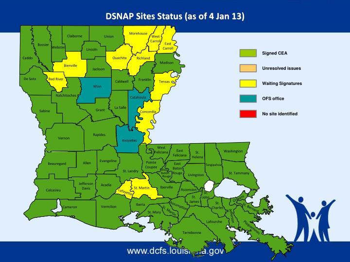 DSNAP Sites Status (as of 4 Jan 13)