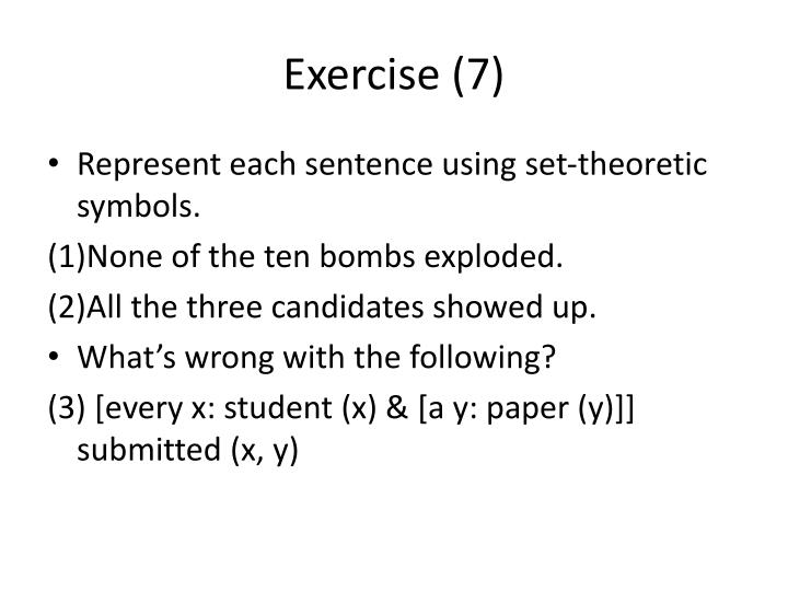 Exercise (7)