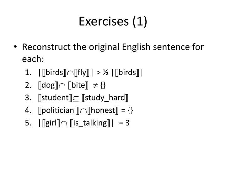 Exercises (1)