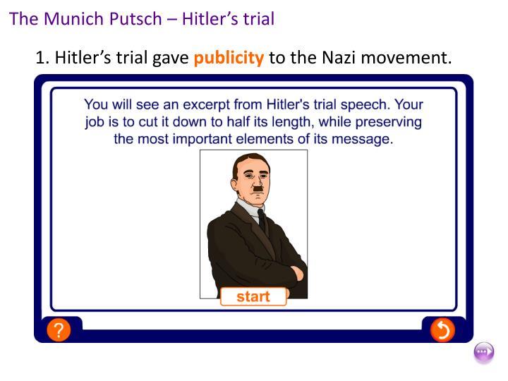 The Munich Putsch – Hitler's trial