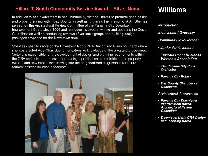 Hillard T. Smith Community Service Award – Silver Medal