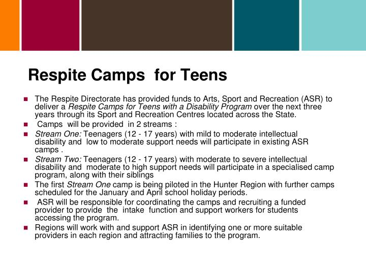 Respite Camps  for Teens